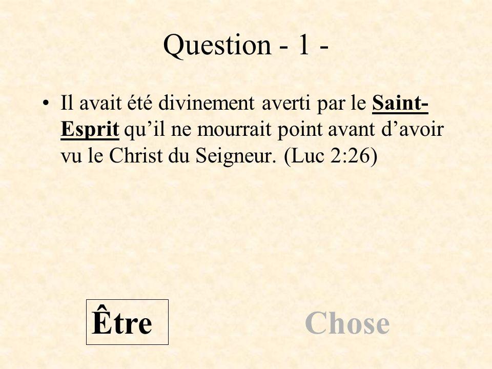 Question - 1 - Il avait été divinement averti par le Saint- Esprit quil ne mourrait point avant davoir vu le Christ du Seigneur. (Luc 2:26) Être Chose