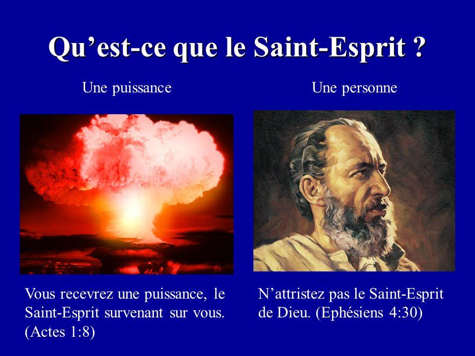 Quest-ce que le Saint-Esprit ? Une puissanceUne personne Vous recevrez une puissance, le Saint-Esprit survenant sur vous. (Actes 1:8) Nattristez pas l