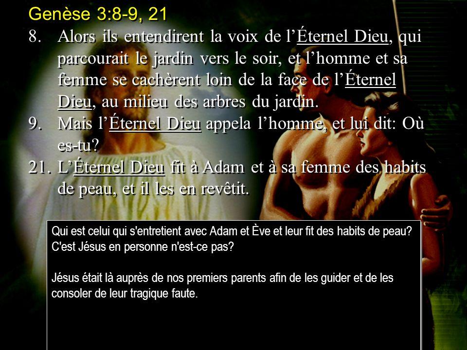 Genèse 3:8-9, 21 8.Alors ils entendirent la voix de lÉternel Dieu, qui parcourait le jardin vers le soir, et lhomme et sa femme se cachèrent loin de la face de lÉternel Dieu, au milieu des arbres du jardin.