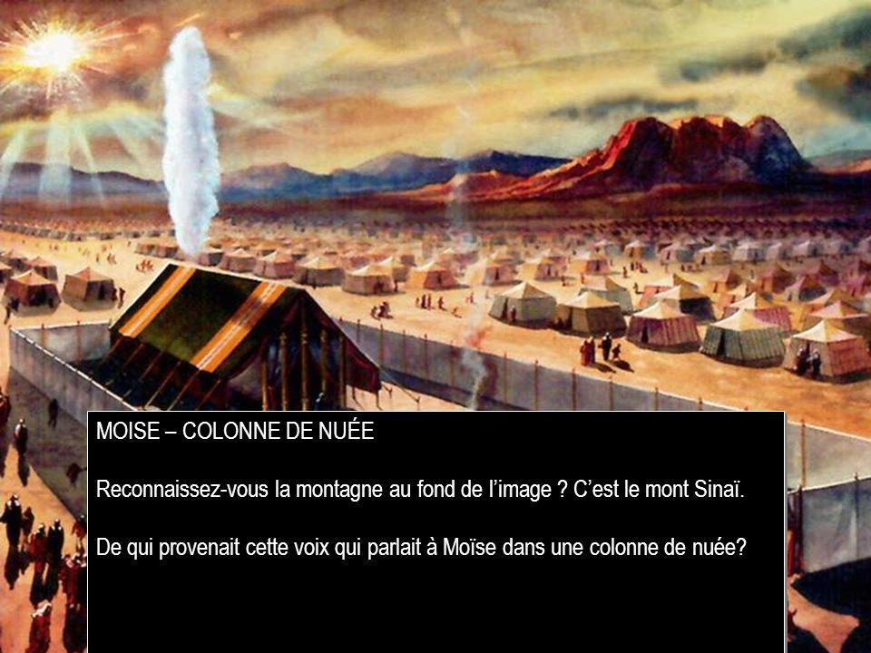 MOISE – COLONNE DE NUÉE Reconnaissez-vous la montagne au fond de limage .