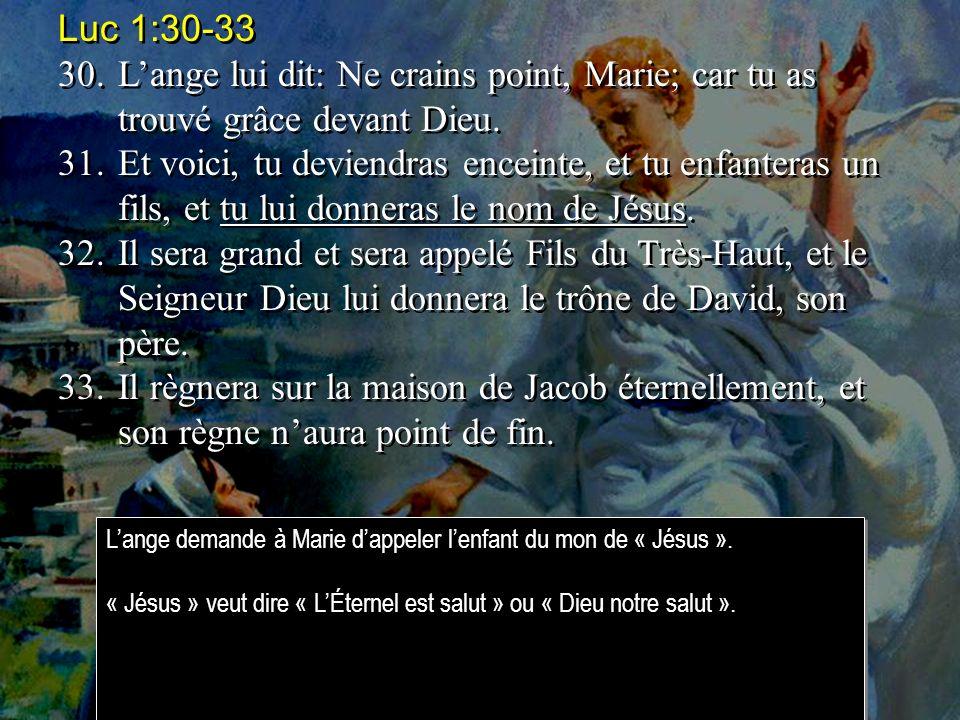 Luc 1:30-33 30.Lange lui dit: Ne crains point, Marie; car tu as trouvé grâce devant Dieu.