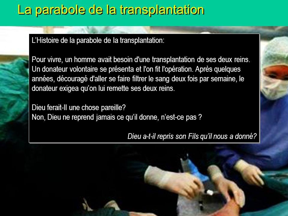 La parabole de la transplantation LHistoire de la parabole de la transplantation: Pour vivre, un homme avait besoin d'une transplantation de ses deux
