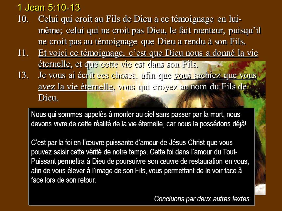 1 Jean 5:10-13 10.Celui qui croit au Fils de Dieu a ce témoignage en lui- même; celui qui ne croit pas Dieu, le fait menteur, puisquil ne croit pas au