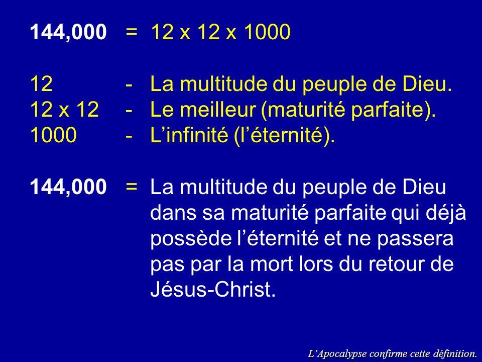 144,000=12 x 12 x 1000 12-La multitude du peuple de Dieu. 12 x 12-Le meilleur (maturité parfaite). 1000-Linfinité (léternité). 144,000=La multitude du