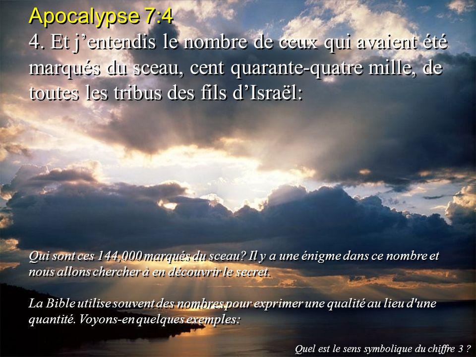 Apocalypse 7:4 4. Et jentendis le nombre de ceux qui avaient été marqués du sceau, cent quarante-quatre mille, de toutes les tribus des fils dIsraël: