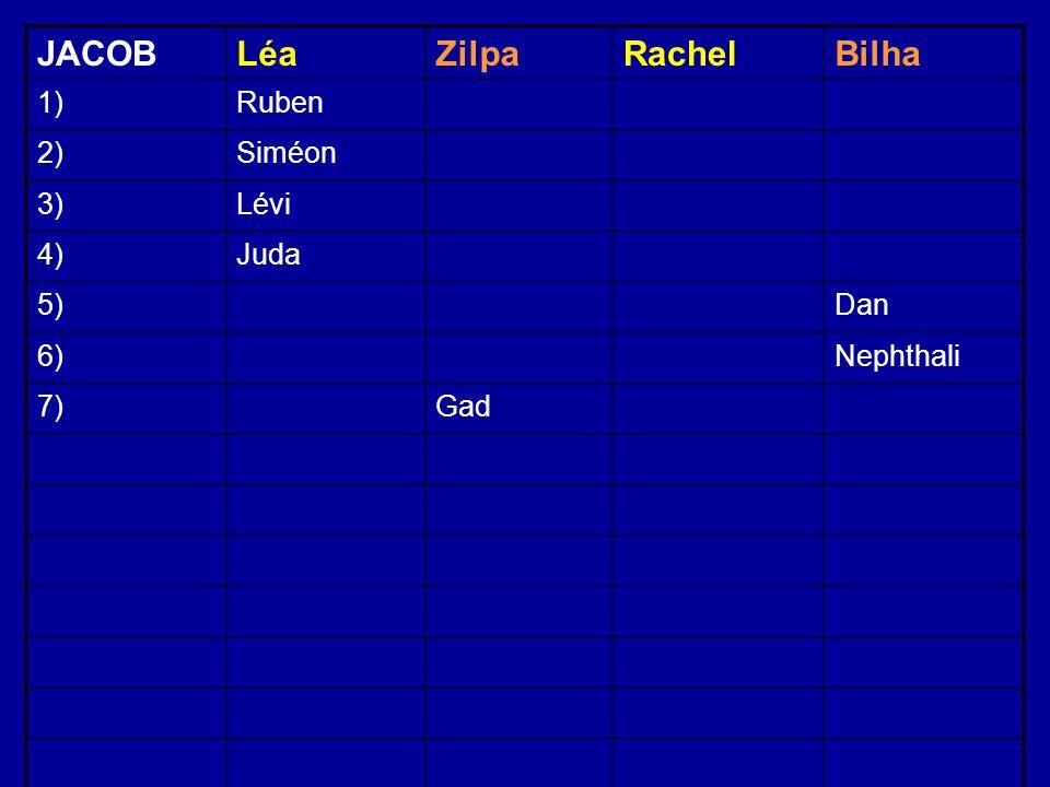 JACOBLéaZilpaRachelBilha 1)Ruben 2)Siméon 3)Lévi 4)Juda 5)Dan 6)Nephthali 7)Gad