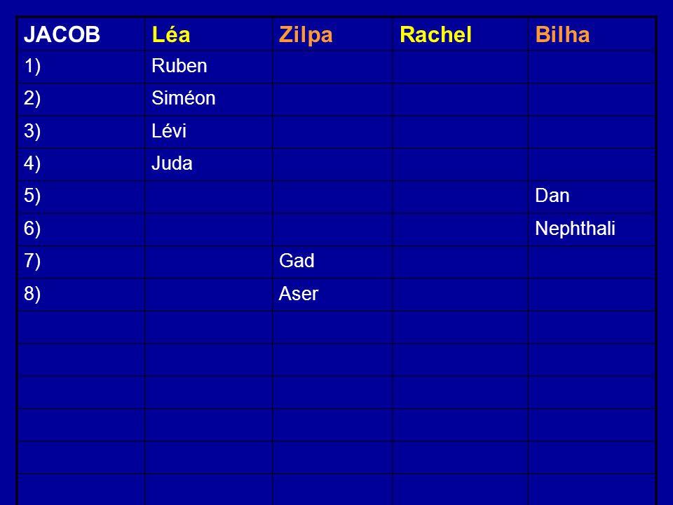 JACOBLéaZilpaRachelBilha 1)Ruben 2)Siméon 3)Lévi 4)Juda 5)Dan 6)Nephthali 7)Gad 8)Aser