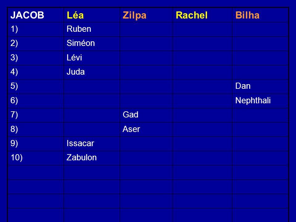 JACOBLéaZilpaRachelBilha 1)Ruben 2)Siméon 3)Lévi 4)Juda 5)Dan 6)Nephthali 7)Gad 8)Aser 9)Issacar 10)Zabulon