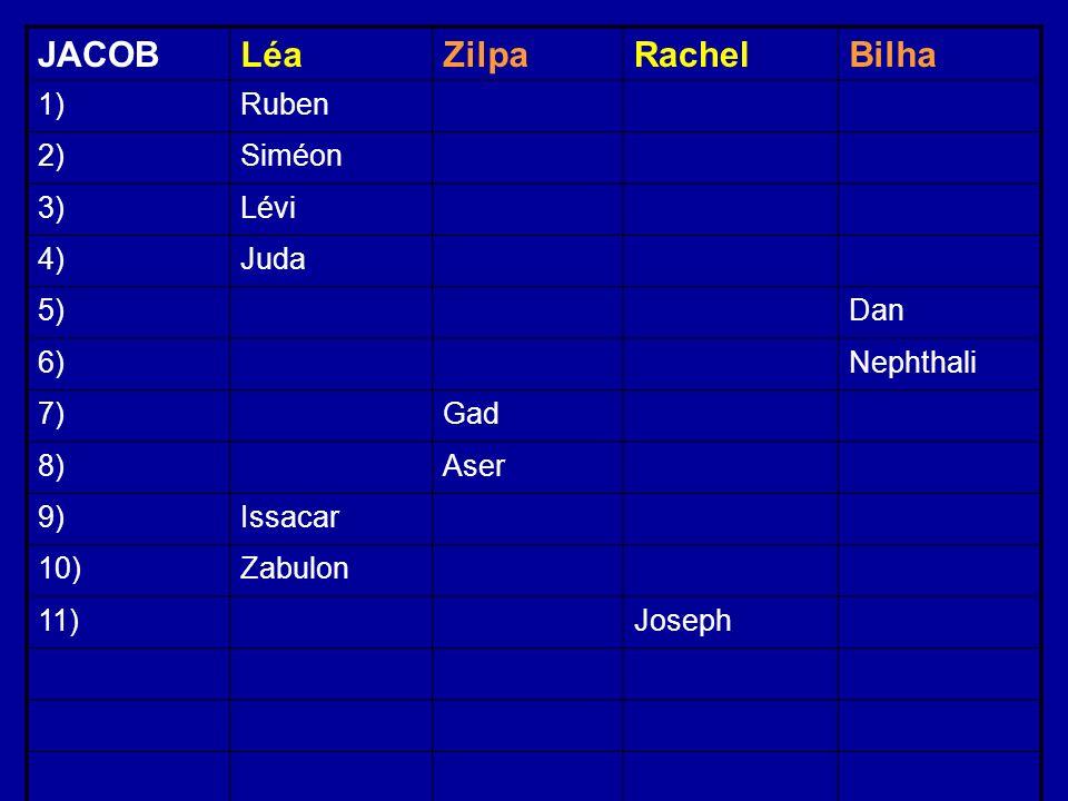 JACOBLéaZilpaRachelBilha 1)Ruben 2)Siméon 3)Lévi 4)Juda 5)Dan 6)Nephthali 7)Gad 8)Aser 9)Issacar 10)Zabulon 11)Joseph