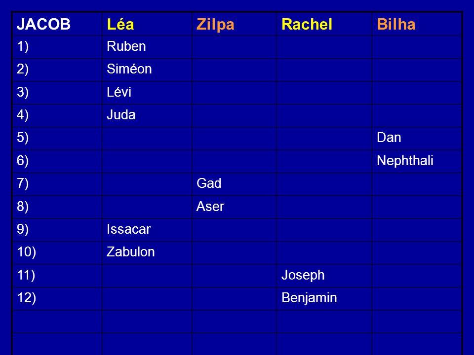 JACOBLéaZilpaRachelBilha 1)Ruben 2)Siméon 3)Lévi 4)Juda 5)Dan 6)Nephthali 7)Gad 8)Aser 9)Issacar 10)Zabulon 11)Joseph 12)Benjamin