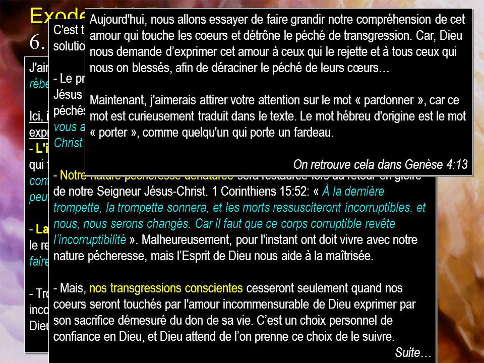 Exode 34:6-7 6.Et lÉternel passa devant lui [Moïse], et sécria: LÉternel, lÉternel, Dieu miséricordieux et compatissant, lent à la colère, riche en bo