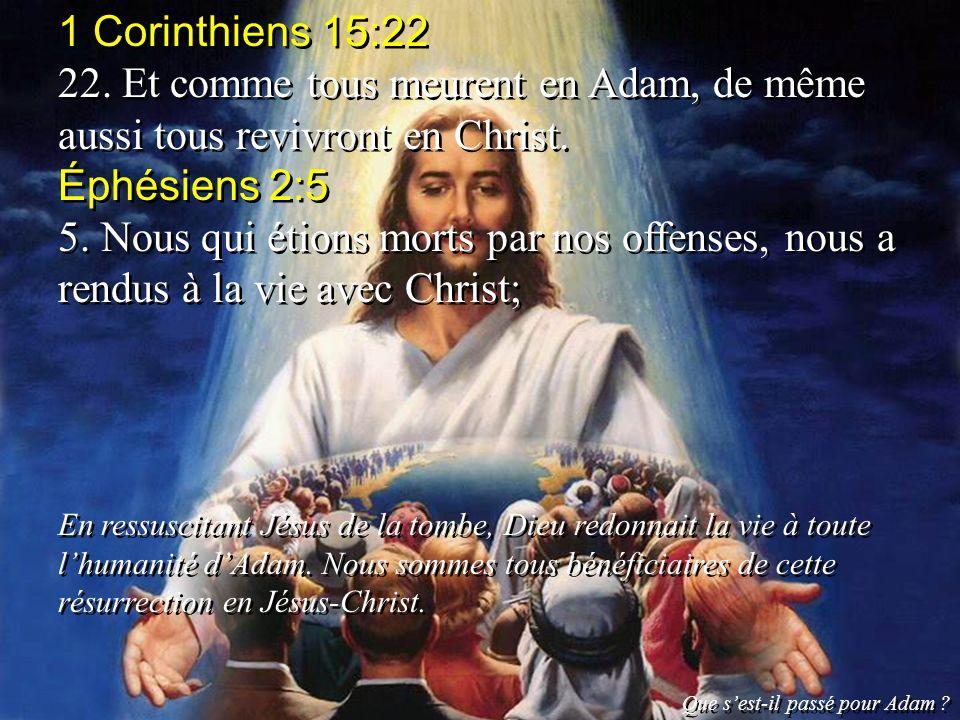 1 Corinthiens 15:22 22. Et comme tous meurent en Adam, de même aussi tous revivront en Christ. Éphésiens 2:5 5. Nous qui étions morts par nos offenses