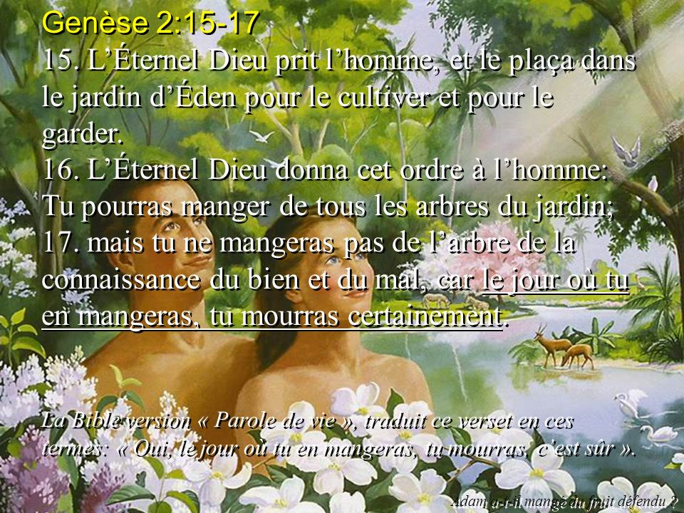 Genèse 2:15-17 15. LÉternel Dieu prit lhomme, et le plaça dans le jardin dÉden pour le cultiver et pour le garder. 16. LÉternel Dieu donna cet ordre à