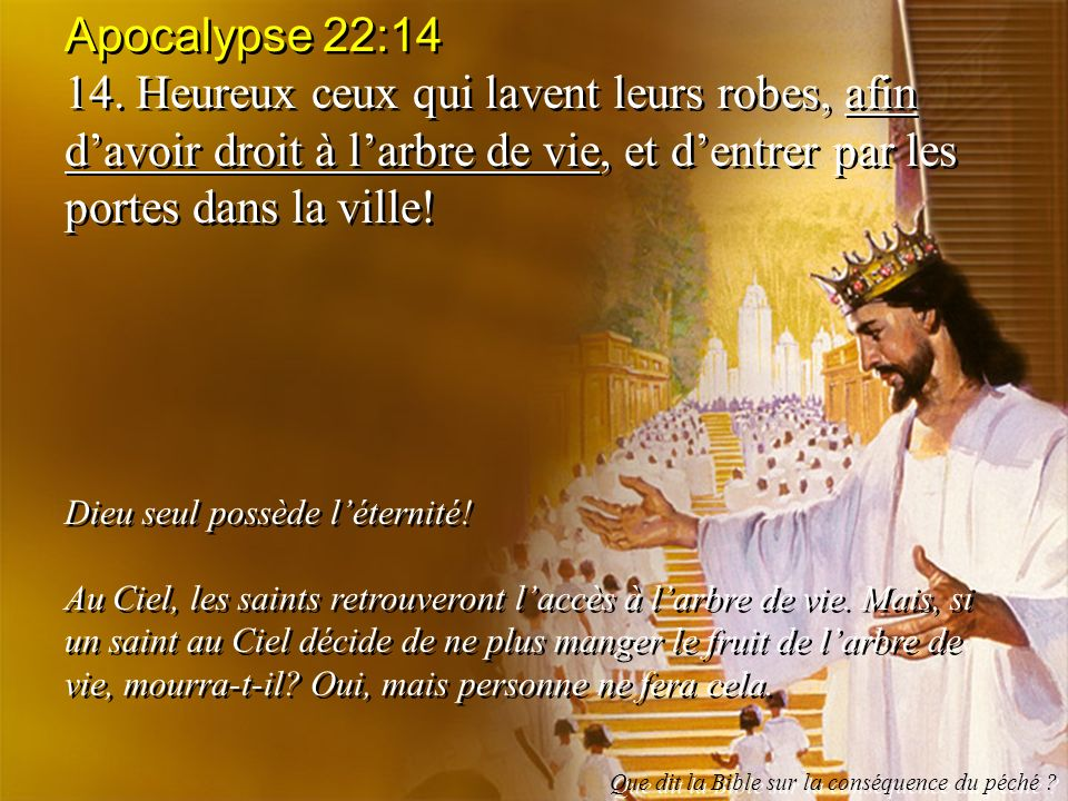 Apocalypse 22:14 14. Heureux ceux qui lavent leurs robes, afin davoir droit à larbre de vie, et dentrer par les portes dans la ville! Dieu seul possèd