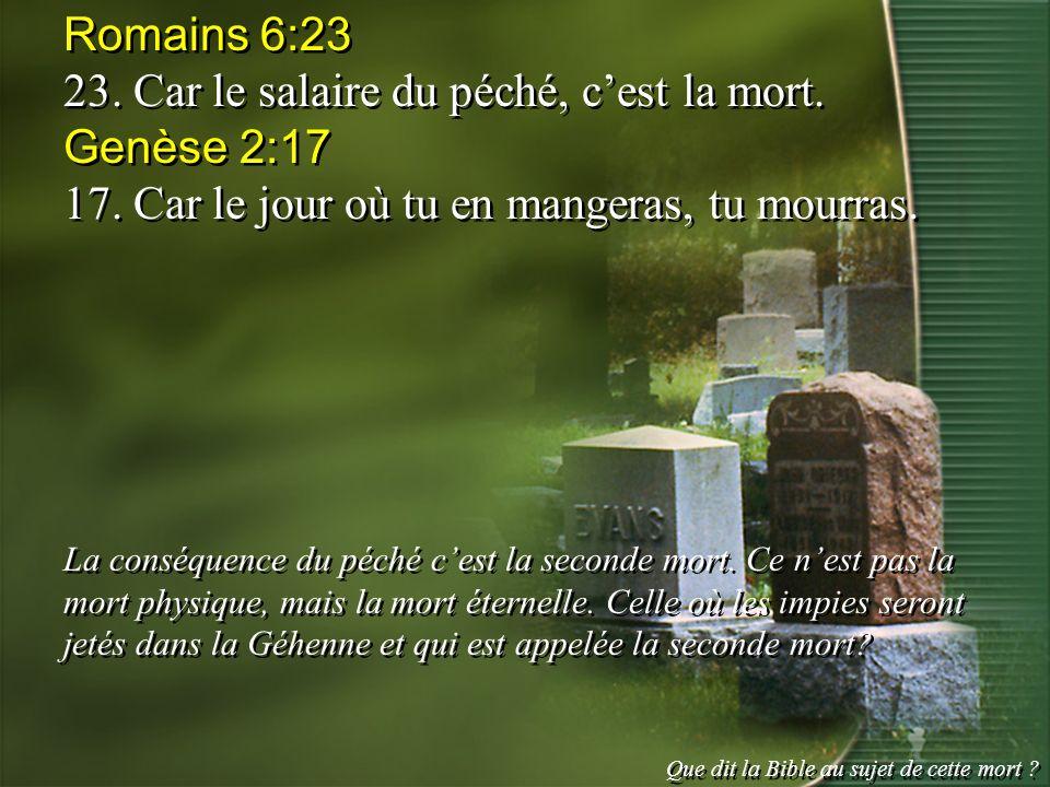 Romains 6:23 23. Car le salaire du péché, cest la mort. Genèse 2:17 17. Car le jour où tu en mangeras, tu mourras. La conséquence du péché cest la sec