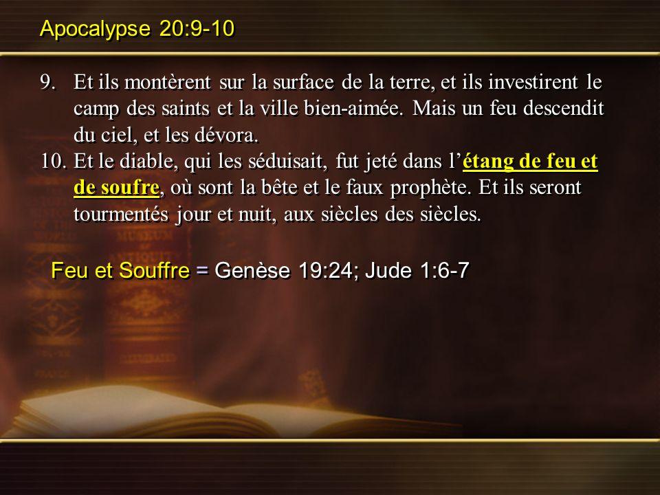 Apocalypse 20:9-10 9.Et ils montèrent sur la surface de la terre, et ils investirent le camp des saints et la ville bien-aimée. Mais un feu descendit