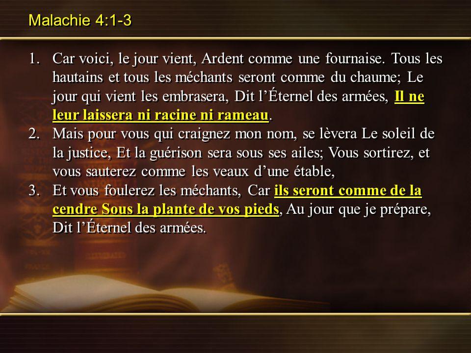Malachie 4:1-3 1.Car voici, le jour vient, Ardent comme une fournaise. Tous les hautains et tous les méchants seront comme du chaume; Le jour qui vien