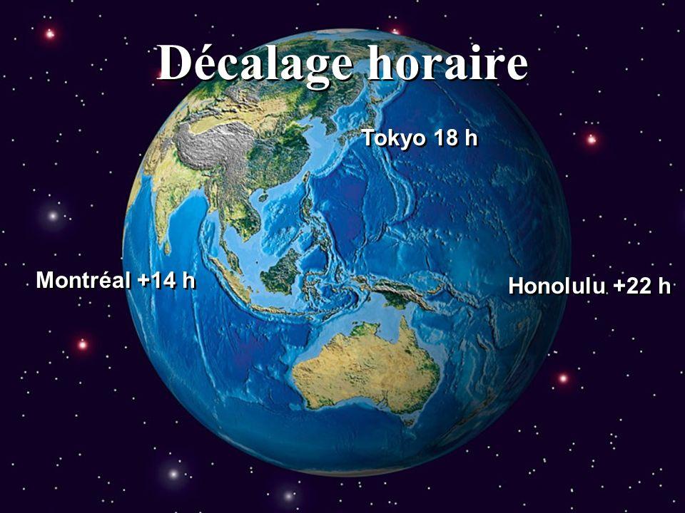 Décalage horaire Tokyo 18 h Montréal +14 h Honolulu +22 h