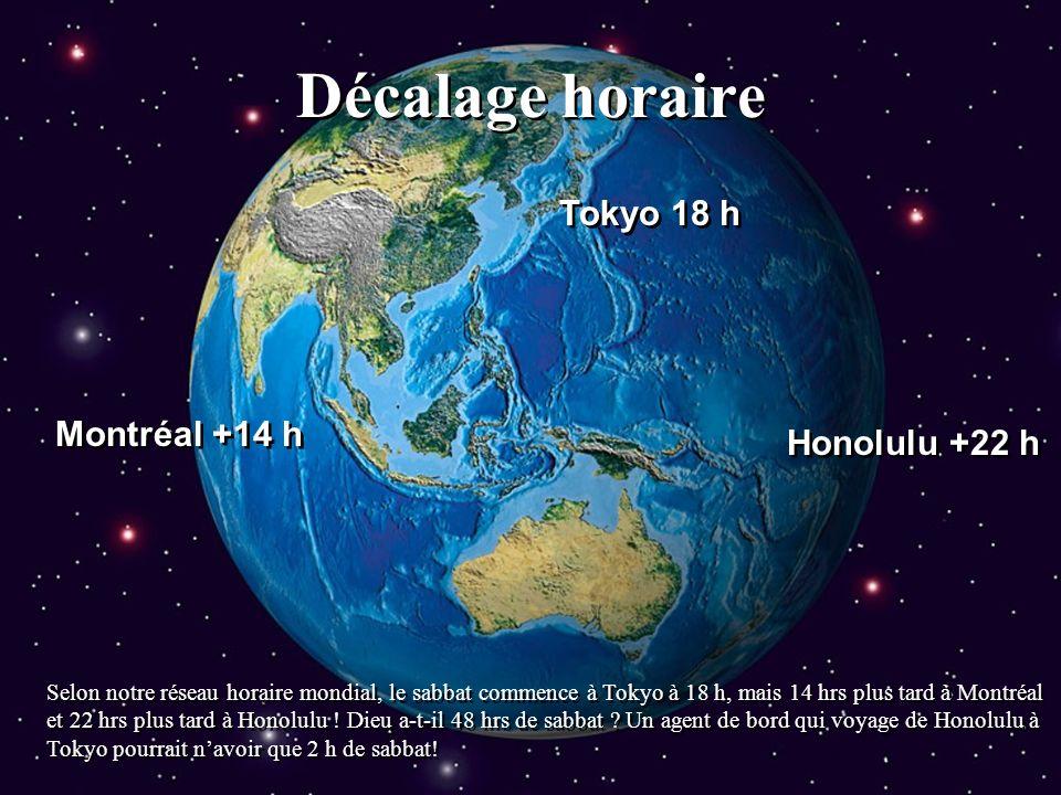 Décalage horaire Tokyo 18 h Montréal +14 h Honolulu +22 h Selon notre réseau horaire mondial, le sabbat commence à Tokyo à 18 h, mais 14 hrs plus tard