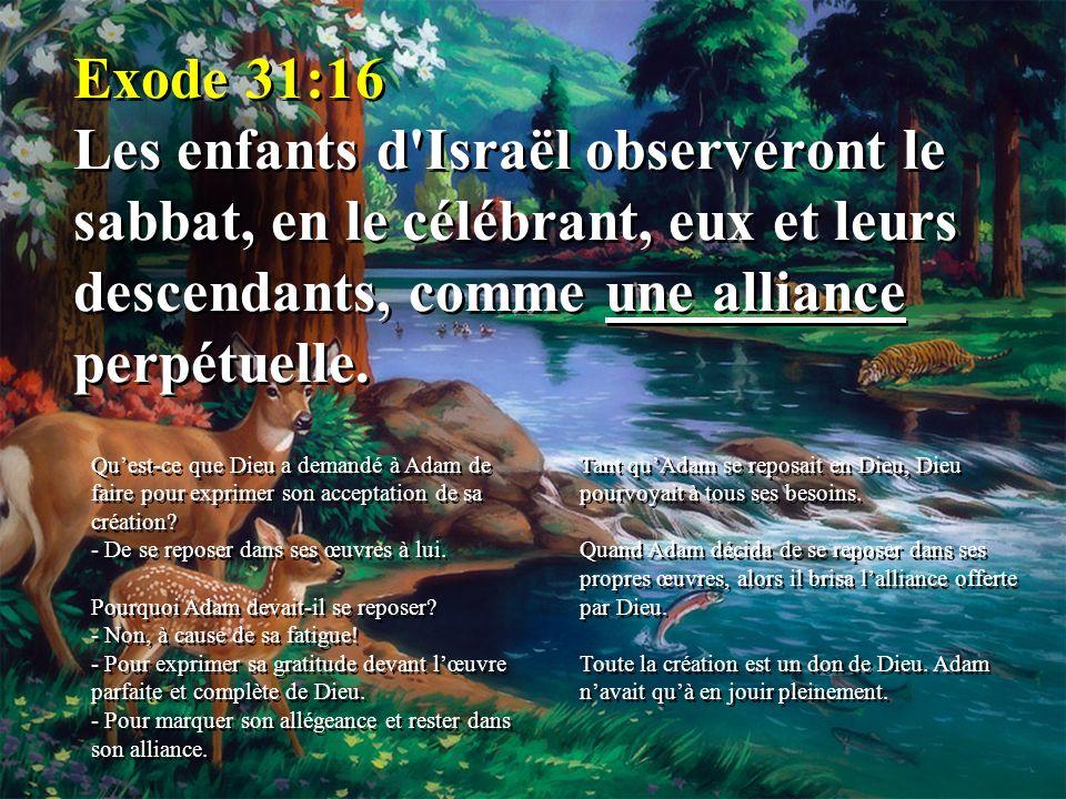 Exode 31:16 Les enfants d'Israël observeront le sabbat, en le célébrant, eux et leurs descendants, comme une alliance perpétuelle. Quest-ce que Dieu a