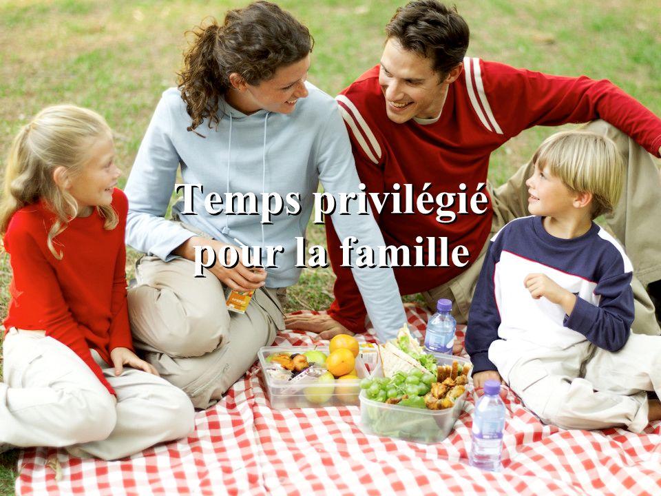 Temps privilégié pour la famille La famille est le noyau de la société. Limportance des relations familiales. Moins de divorces.