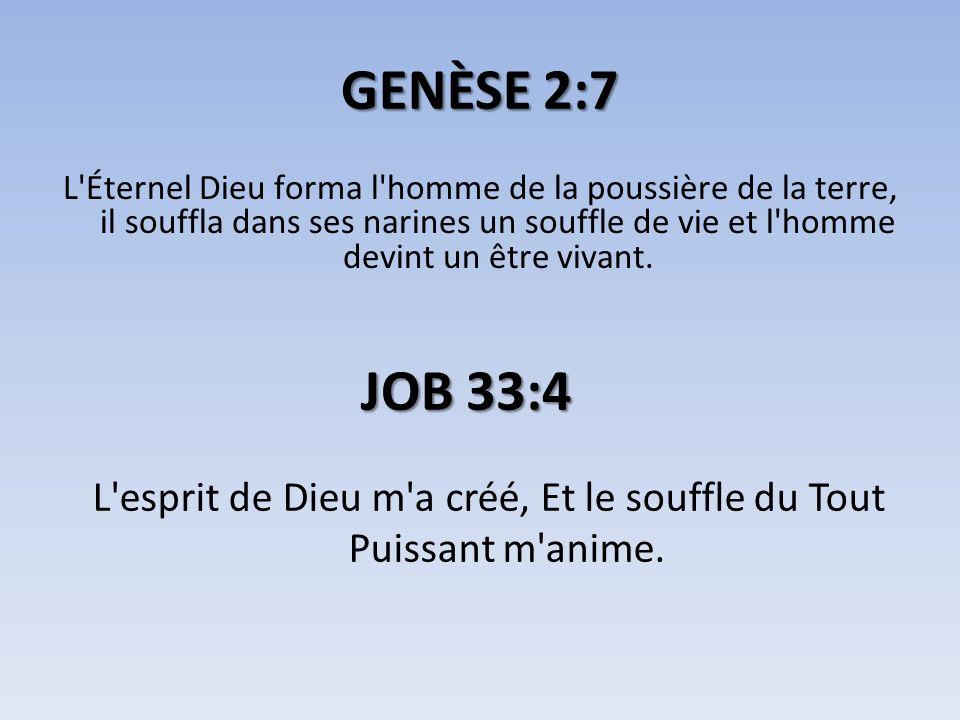 GENÈSE 2:7 L'Éternel Dieu forma l'homme de la poussière de la terre, il souffla dans ses narines un souffle de vie et l'homme devint un être vivant. J