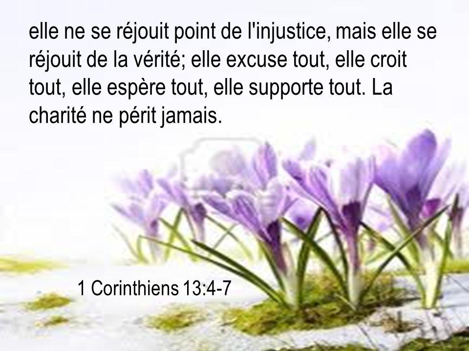 1 Corinthiens 13:4-7 elle ne se réjouit point de l'injustice, mais elle se réjouit de la vérité; elle excuse tout, elle croit tout, elle espère tout,