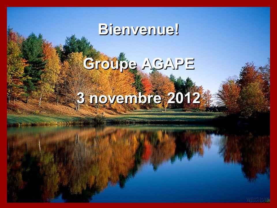 Bienvenue! Groupe AGAPE 3 novembre 2012 Bienvenue! Groupe AGAPE 3 novembre 2012