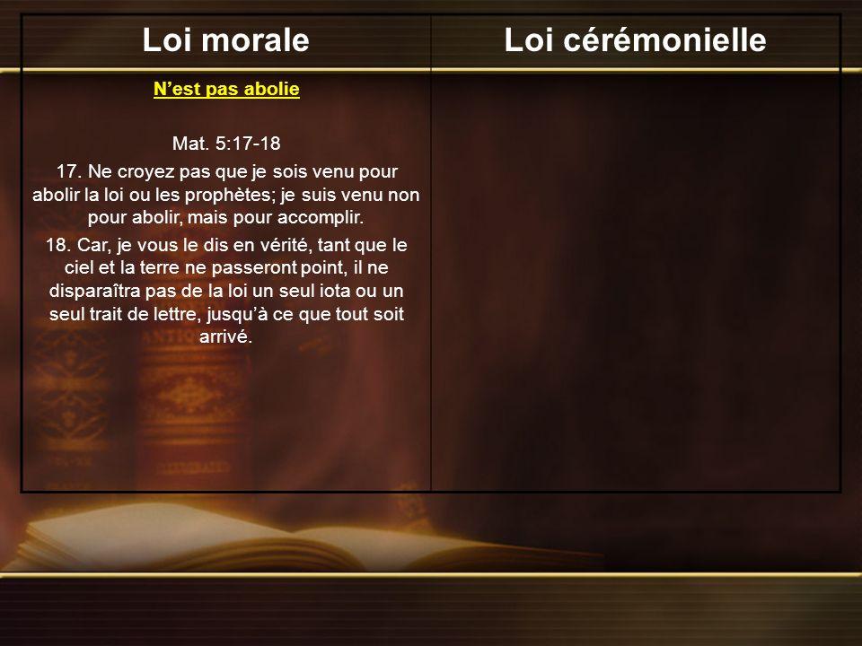Loi moraleLoi cérémonielle Nest pas abolie Mat.5:17-18 17.
