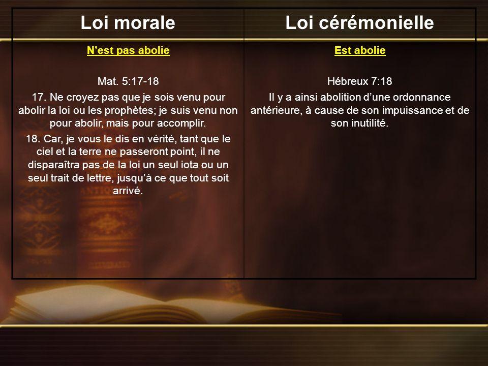Loi moraleLoi cérémonielle Elle contient un sabbat perpétuel Ésaïe 66:22-23 22.