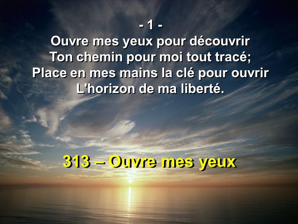 313 – Ouvre mes yeux - 1 - Ouvre mes yeux pour découvrir Ton chemin pour moi tout tracé; Place en mes mains la clé pour ouvrir L'horizon de ma liberté