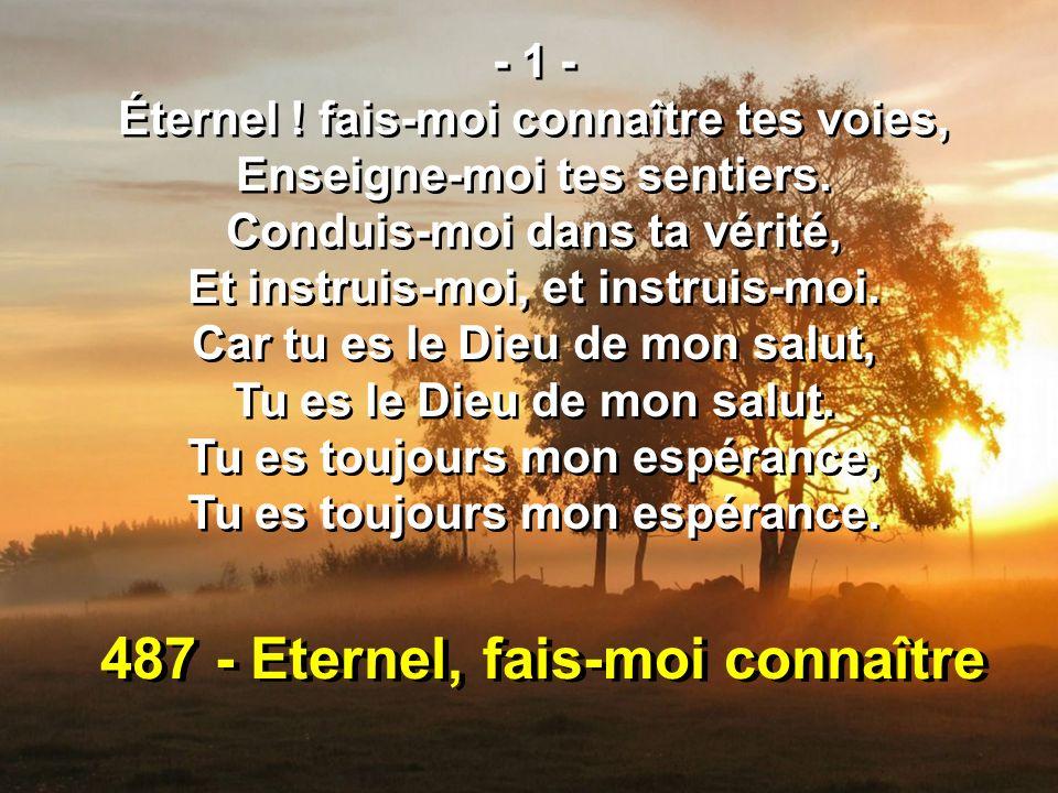 487 - Eternel, fais-moi connaître - 1 - Éternel ! fais-moi connaître tes voies, Enseigne-moi tes sentiers. Conduis-moi dans ta vérité, Et instruis-moi