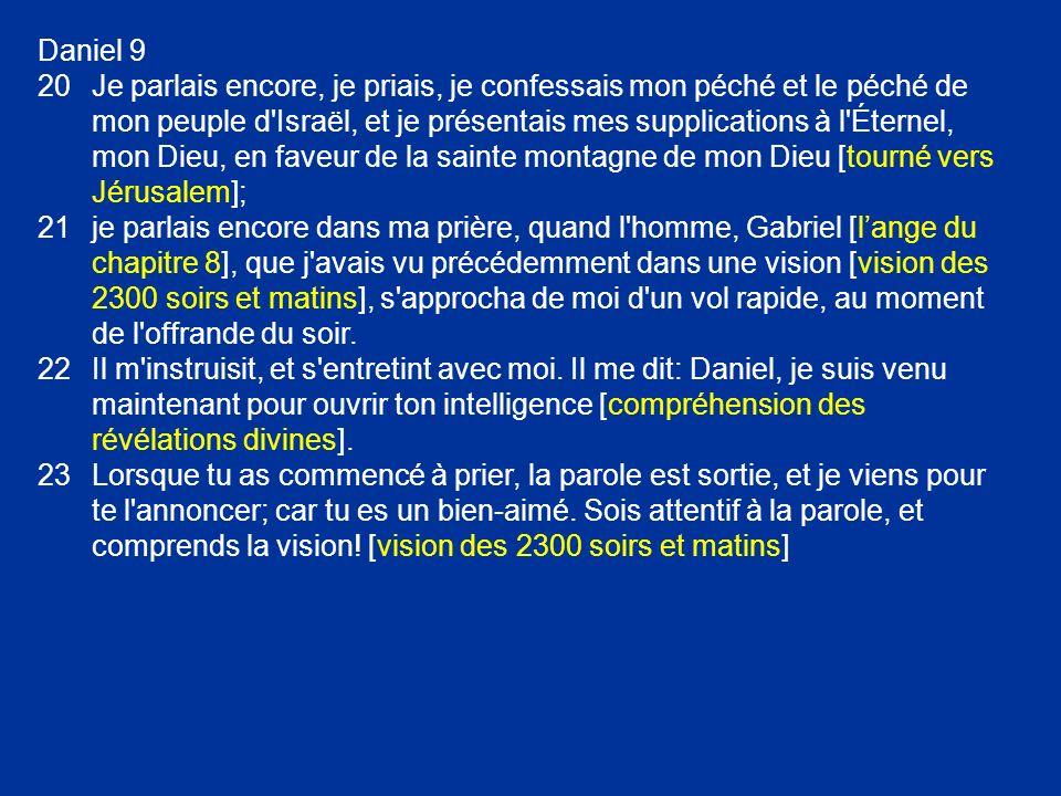 Daniel 9 20Je parlais encore, je priais, je confessais mon péché et le péché de mon peuple d'Israël, et je présentais mes supplications à l'Éternel, m