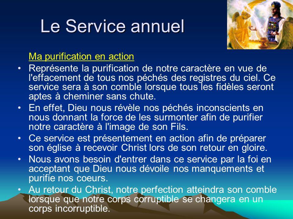 Ma purification en action Représente la purification de notre caractère en vue de l'effacement de tous nos péchés des registres du ciel. Ce service se