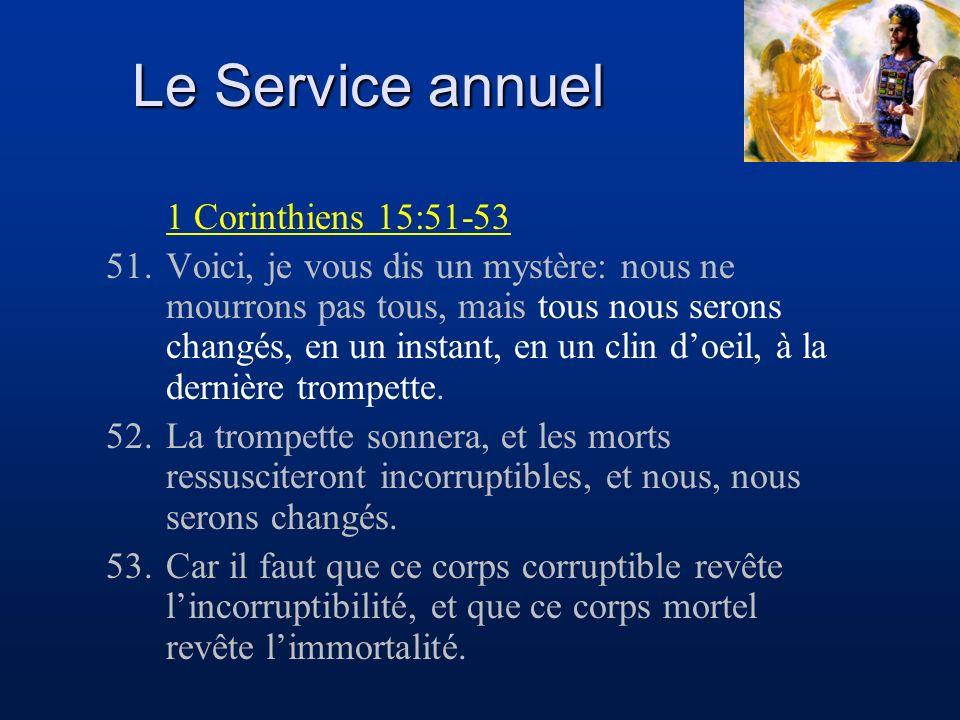 Le Service annuel 1 Corinthiens 15:51-53 51.Voici, je vous dis un mystère: nous ne mourrons pas tous, mais tous nous serons changés, en un instant, en