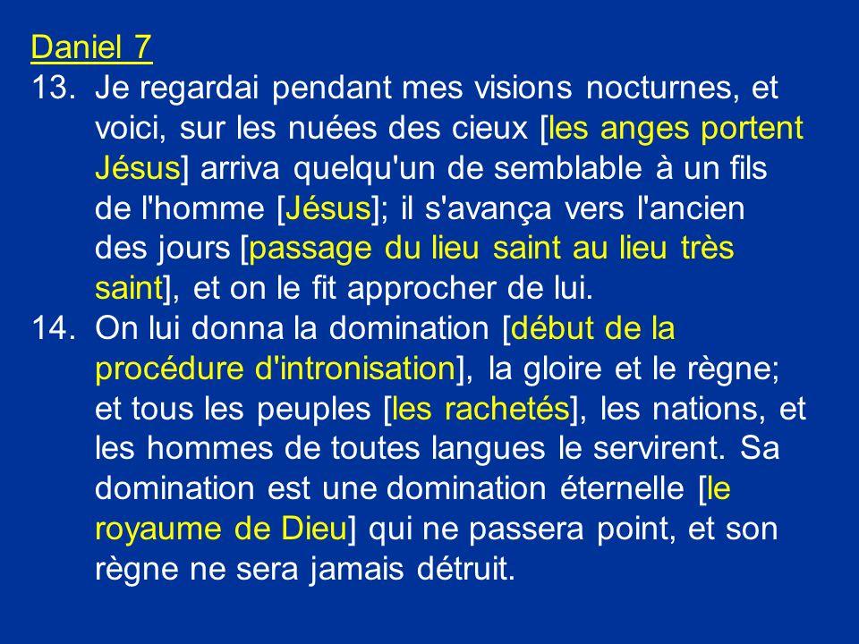 Daniel 7 13.Je regardai pendant mes visions nocturnes, et voici, sur les nuées des cieux [les anges portent Jésus] arriva quelqu'un de semblable à un