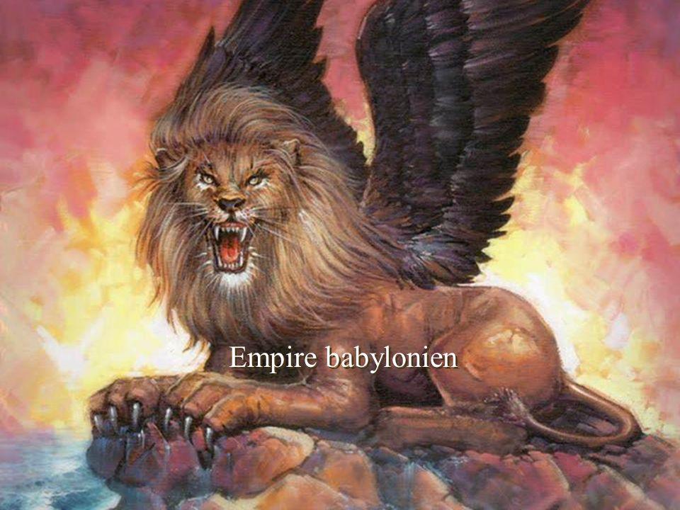 Daniel 7 4.Le premier était semblable à un lion, et avait des ailes d aigles [empire babylonien sous Nebucadnetsar]; je regardai, jusqu au moment où ses ailes furent arrachées [perdu son courage des conquêtes]; il fut enlevé de terre et mis debout sur ses pieds comme un homme, et un coeur d homme lui fut donné [devenu faible et humain].