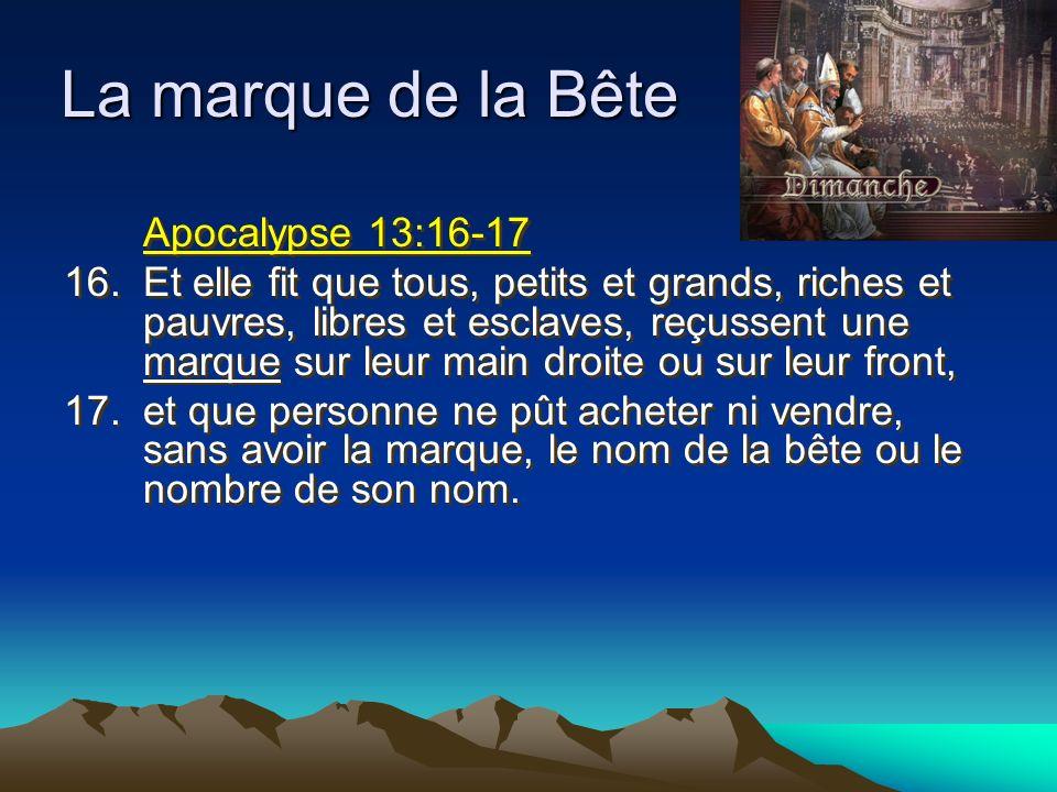 Apocalypse 13:16-17 16.Et elle fit que tous, petits et grands, riches et pauvres, libres et esclaves, reçussent une marque sur leur main droite ou sur