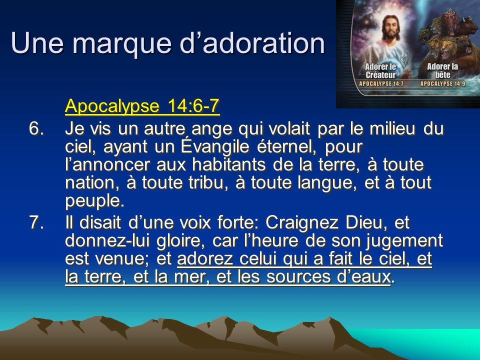 Apocalypse 14:6-7 6.Je vis un autre ange qui volait par le milieu du ciel, ayant un Évangile éternel, pour lannoncer aux habitants de la terre, à tout