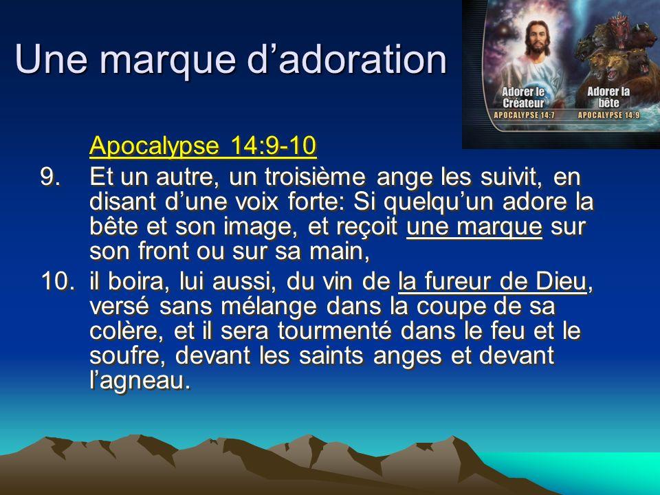 Une marque dadoration Apocalypse 14:9-10 9.Et un autre, un troisième ange les suivit, en disant dune voix forte: Si quelquun adore la bête et son imag