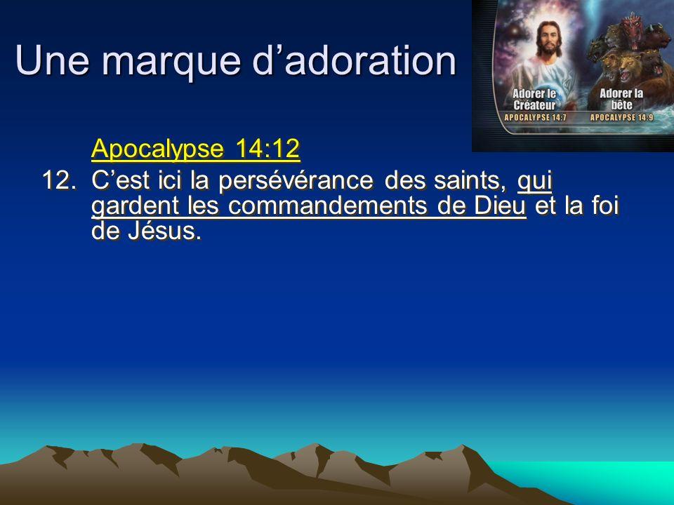 Une marque dadoration Apocalypse 14:12 12.Cest ici la persévérance des saints, qui gardent les commandements de Dieu et la foi de Jésus. Apocalypse 14