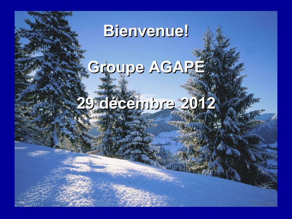 Bienvenue! Groupe AGAPE 29 décembre 2012 Bienvenue! Groupe AGAPE 29 décembre 2012