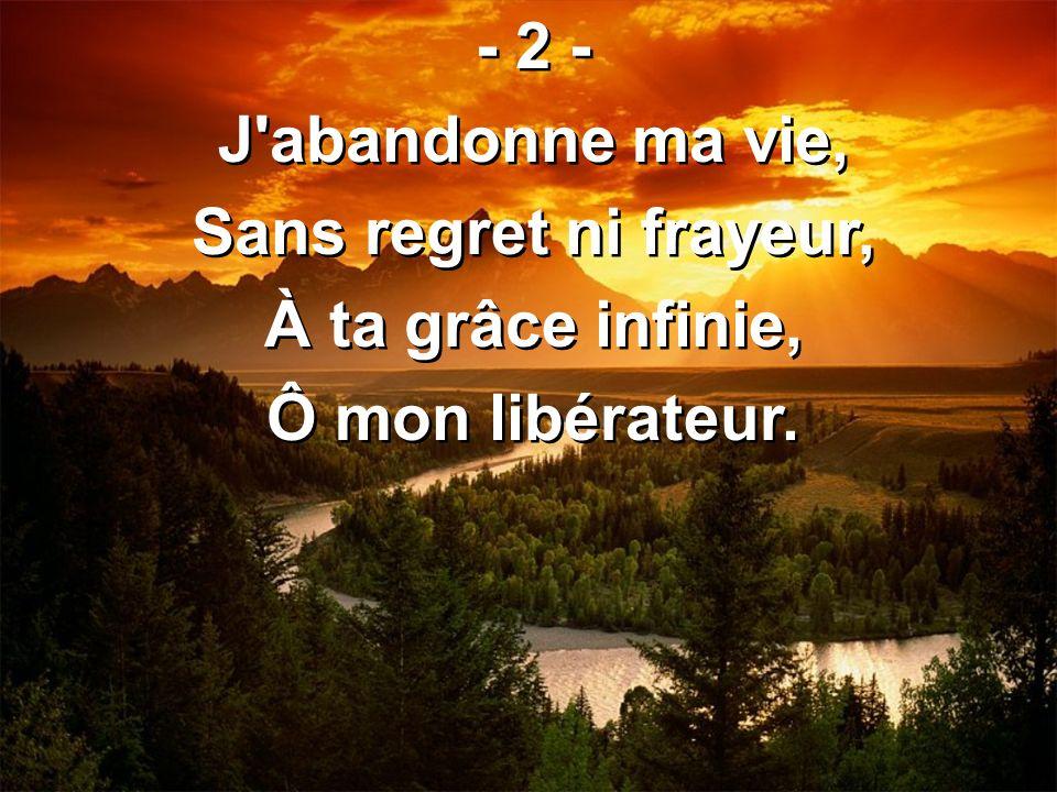 - 2 - J'abandonne ma vie, Sans regret ni frayeur, À ta grâce infinie, Ô mon libérateur. - 2 - J'abandonne ma vie, Sans regret ni frayeur, À ta grâce i