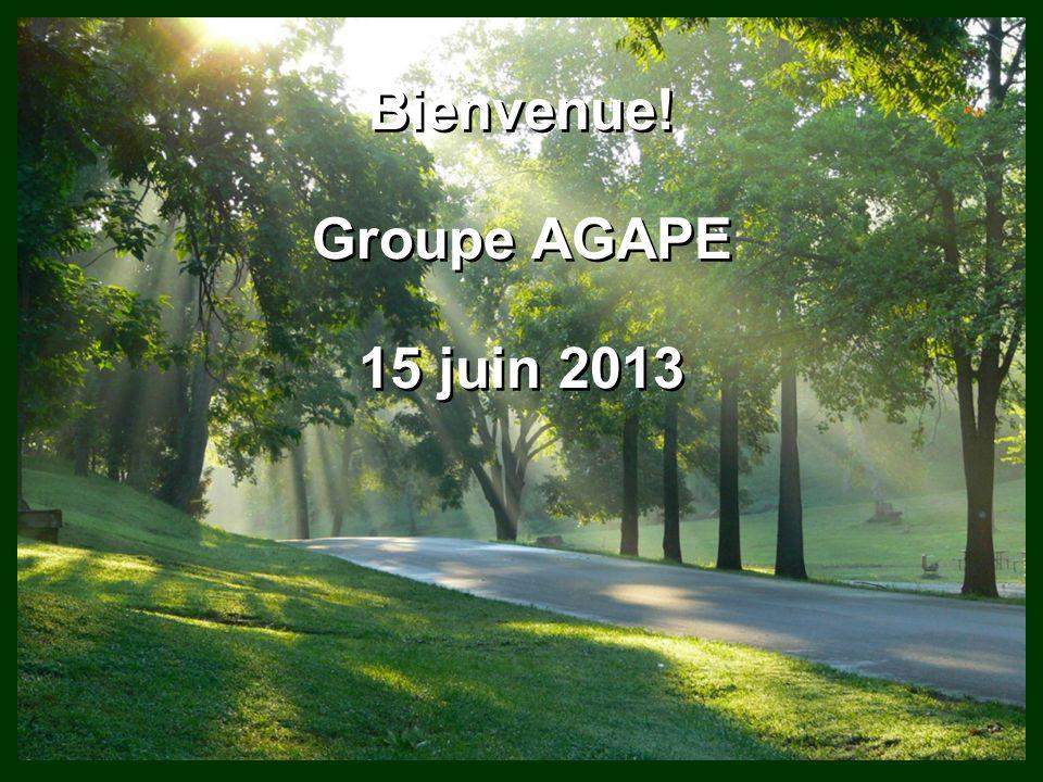 Bienvenue! Groupe AGAPE 15 juin 2013 Bienvenue! Groupe AGAPE 15 juin 2013