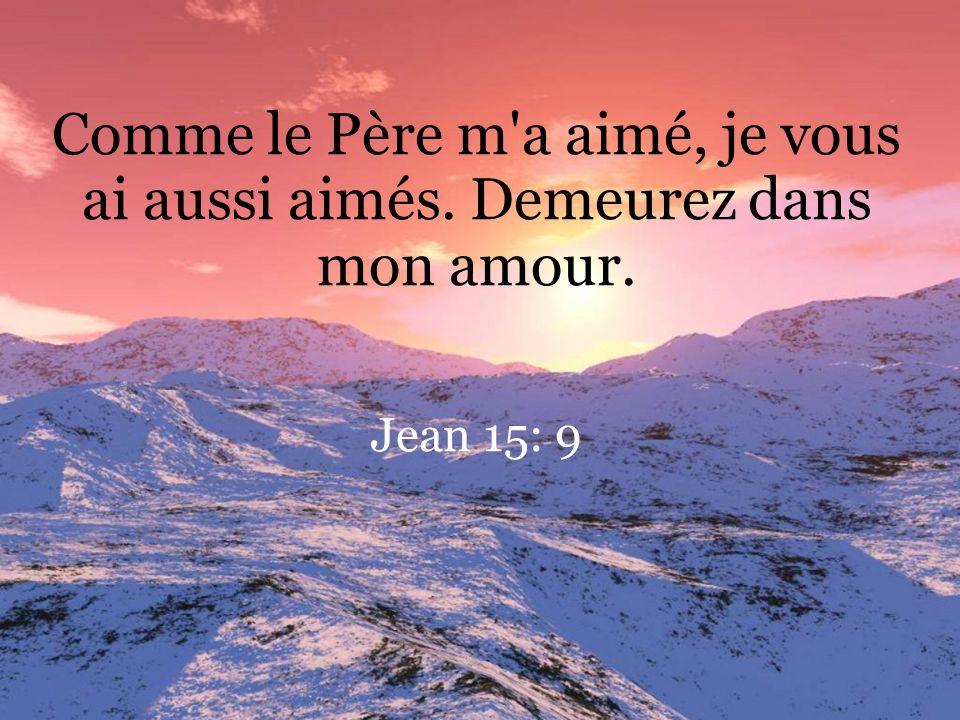 Comme le Père m a aimé, je vous ai aussi aimés. Demeurez dans mon amour. Jean 15: 9