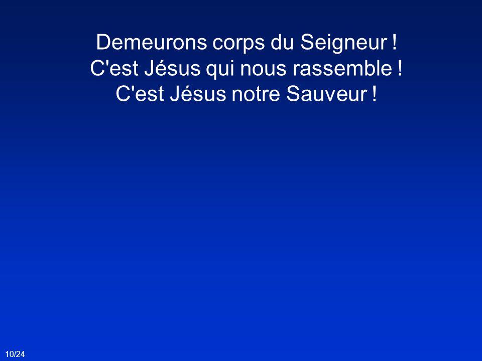 Demeurons corps du Seigneur ! C'est Jésus qui nous rassemble ! C'est Jésus notre Sauveur ! 10/24