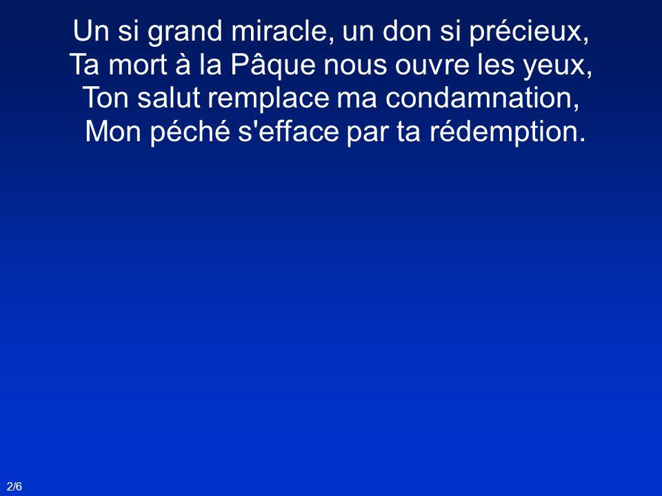 2/6 Un si grand miracle, un don si précieux, Ta mort à la Pâque nous ouvre les yeux, Ton salut remplace ma condamnation, Mon péché s'efface par ta réd