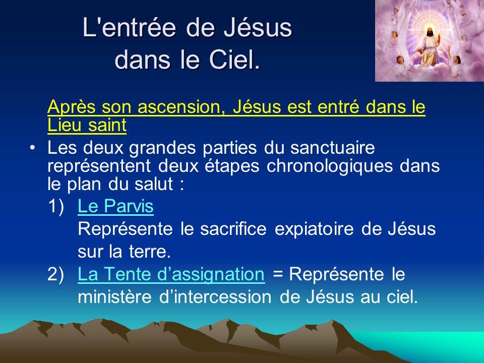 Après son ascension, Jésus est entré dans le Lieu saint Les deux grandes parties du sanctuaire représentent deux étapes chronologiques dans le plan du