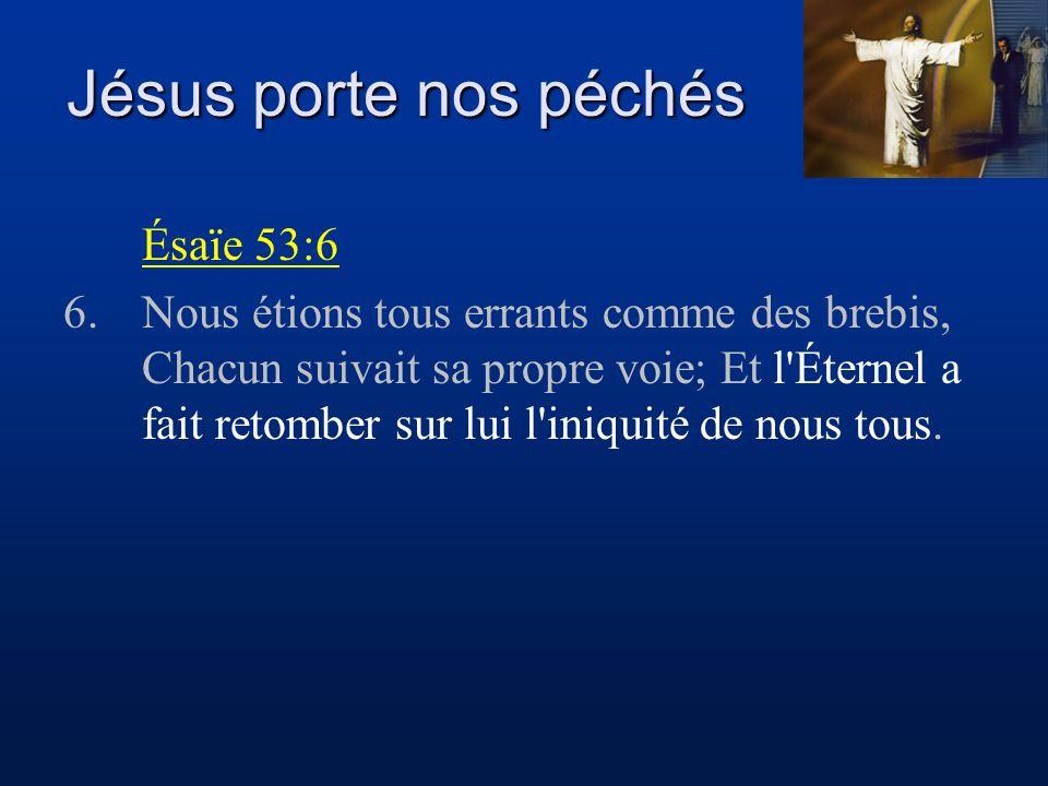 Jésus porte nos péchés Ésaïe 53:6 6.Nous étions tous errants comme des brebis, Chacun suivait sa propre voie; Et l'Éternel a fait retomber sur lui l'i