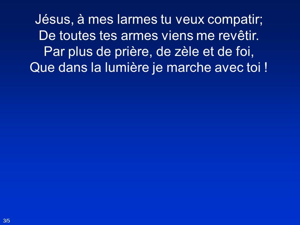 Jésus, à mes larmes tu veux compatir; De toutes tes armes viens me revêtir. Par plus de prière, de zèle et de foi, Que dans la lumière je marche avec